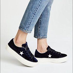 Converse Shoes - Converse One Star Platform Ox Velvet Sneakers